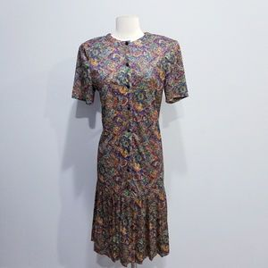 Vintage 80's retro print drop waist dress